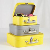 Kids Storage: Yellow and Grey Storage Suitcases in Tabletop Storage   The Land of Nod