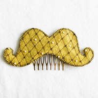 Hand Stitched Mustache Hair Comb in Mustard by OggleAesthetics