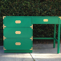 Emerald Green and Gold Campaign Desk