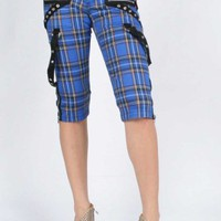 Tripp NYC Pretty Punk Capri Pants in Blue Plaid