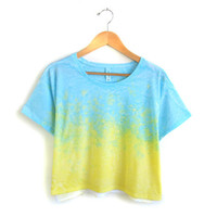 Splash Dyed Hand PAINTED Slouchy Scoop Neck Cropped Boxy Tee in Ocean Blue and Yellow Sunset - S M L