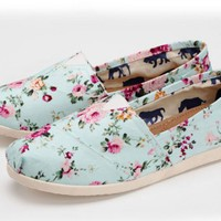 Floral Printed Flat Canvas Womens Shoes