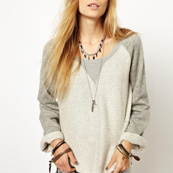 Somedays | Somedays Lovin Pace Sweatshirt In Panelled Fleece at ASOS