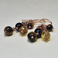 Tiger Eye Citrine and Smoky Quartz Dangle Earrings in Copper | LaraJordanJewelry - Jewelry on ArtFire