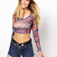 ASOS | ASOS Ribbed 90's Crop Top in Tapestry Rose Print at ASOS