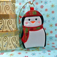 Christmas Plaid Penguin Gift Holder, Gadget Case, Stocking Stuffer