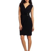 Jones New York Women's Mj Grecian Wrap Ring Dress