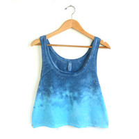 Splash Dyed Hand PAINTED Slouchy Scoop Neck Cropped Boxy Tank Top in Ocean Blues Sunset - S M L