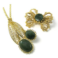 Vintage Flower Brooch, Set of 2 Vintage Pins, Jade, Gold Filigree