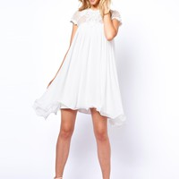 Lydia Bright Swing Dress With Cornelli Mesh at asos.com