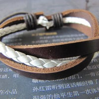 Cool 3 Cricles White Leather andBrown Leather by sevenvsxiao
