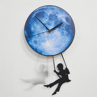 Swinger Girl Blue Moon - Pendulum Wall Clock