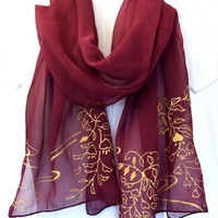Hand Dyed Silk Scarf Floral Merlot Red by SilkCouturebyTakuyo
