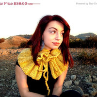 CIJ Sale - 10% off - Hand Knitted Cowl in Gold - Neck Warmer - Yellow Scarf - Mustard - Collar - Versatile - Gift for Her
