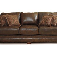 Brown Leather Sofa Floral Cushion Modern Lane Furniture | Impressive Home Decor