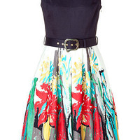 STYLEBOP.com | Black and Multicolor Pleated Swing Dress with Belt by MILLY | the latest trends from the capitals of the world