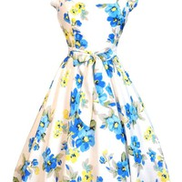 Beautiful Blue Floral Swing Dress