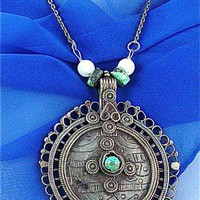 Afghan Silver Pendant Turquoise Stone and Beads | craftsofthepast - Jewelry on ArtFire