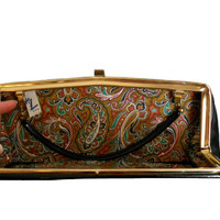 Vintage Handbag Clutch Black Patent Leather with Paisley Print Lining- HL Bags