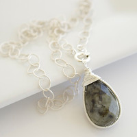 Labradorite Necklace Bezel Set Pendant Necklace by Jewels2Luv