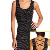 Charlotte Russe - Lattice-Back Zebra Tank Dress