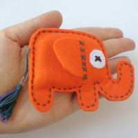 Felt Elephant Brooch  ELLIE E  Orange by Owlsandco on Etsy