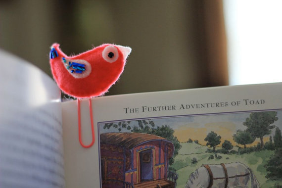 Bird Felt Bookmark Paperclip by Willowfolk on Etsy
