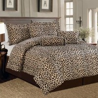 Beautiful 7 Pc Leopard Print Faux Fur, King Size Comforter Bedding Set