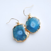 Stalactite Solar Quartz Earrings in Aqua Teal, OOAK