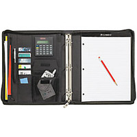 Cambridge City Microfiber Zipper Binder 1 Rings BlackGray by Office Depot