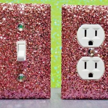 SET of Chunky Pink Berry Glitter Switch Plate/Outlet Covers ANY STYLES