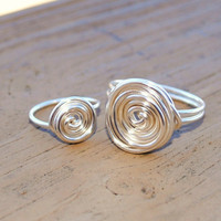 Wire Wrapped Ring Silver Mommy and Me Friendship by KissMeKrafty