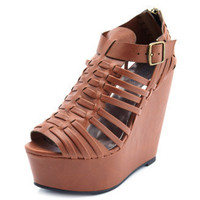 Leatherette Huarache Wedge