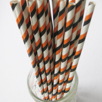 25 HALLOWEEN Orange, Black and White Paper Striped Straws - Free Downloadable Straw Flags