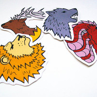 Game of Thrones House Sigils Lion Wolf Stag Dragon by sacari