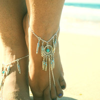 Barefoot Sandals Footless Sandals Anklet Toe Ring Foot Jewelry Boho Bohemian Silver Dreamcatcher Turquoise Feathers Hanna