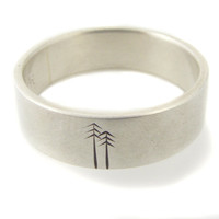 Sterling Silver Woodland Wedding Band by ashhilton on Etsy