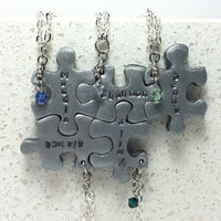 Puzzle Pieces Personalized 5 Necklaces With Pearls or Crystals Silver Polymer clay Made to order