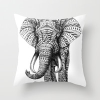 Ornate Elephant Throw Pillow by BioWorkZ