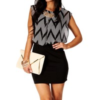 Black/Ivory Sleeveless Colorblock 2fer Dress