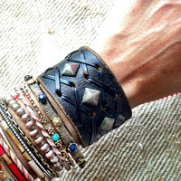 Studded Leather Cuff Bracelet Patina Black by ThreeBirdNest