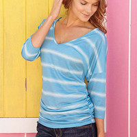 V-neck Ruched-Side Dolman at Alloy