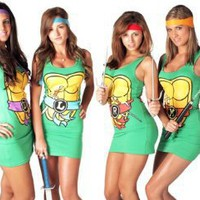 TMNT Michelangelo Orange Tank Dress Small