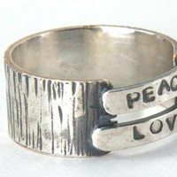 Peace Love Ring Sterling Silver Band Ring by ExCognito on Zibbet