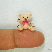 Miniature Creme Mohair Bear  Micro Crocheted  Bears 0.8 by SuAmi