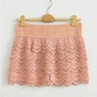 Lace Embroidery Mini Lace Tiered Short Skirt Under Safety Pants Shorts S M L XL