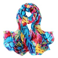YCB Women's Mulberry Silk Dense Van Gogh Impression Print Scarf Multi-Color