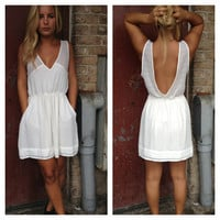 Ivory V-Back Dress with Pockets