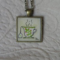 Tea Time Original Miniature Watercolor Art Pendant Necklace
