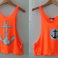 Chevron Zigzag Tank Top- Anchor